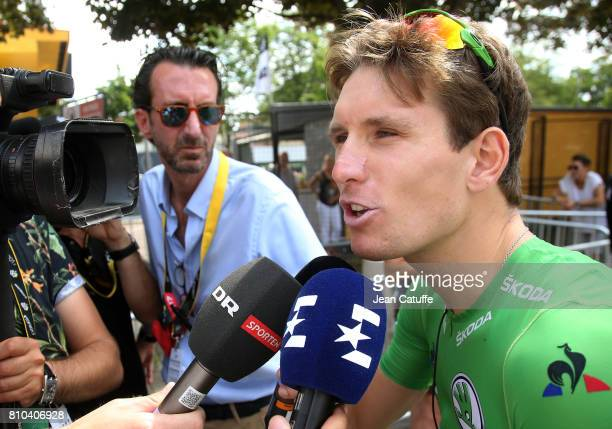 Arnaud Demare of France and Team FDJ at the start of stage 7 of the Tour de France 2017 a stage between Troyes and NuitsSaintGeorges on July 7 2017...