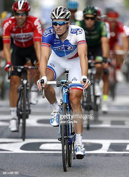 Arnaud Demare of France and Team FDJ crosses the finish line during stage sixteenth of the 2015 Tour de France a 201 km stage from Bourg de Peage to...