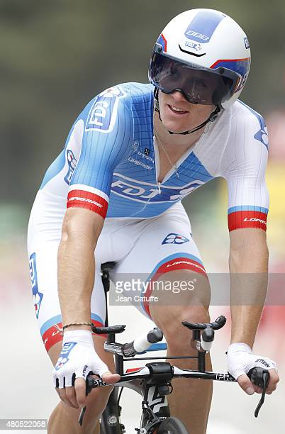 Arnaud Demare of France and Team FDJ in action during stage nine of the 2015 Tour de France a 28 km team time trial from Vannes to Plumelec on July...