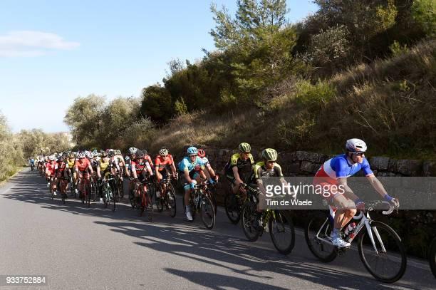 Arnaud Demare of France and Team Groupama FDJ / Caleb Ewan of Australia and Team MitcheltonScott / Cipressa 239m during the 109th MilanSanremo 2018 a...