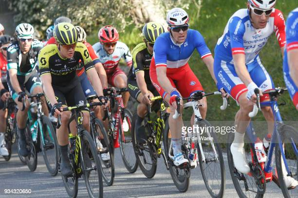 Arnaud Demare of France and Team Groupama FDJ / Christopher Juul Jensen of Denmark and Team MitcheltonScott / during the 109th MilanSanremo 2018 a...