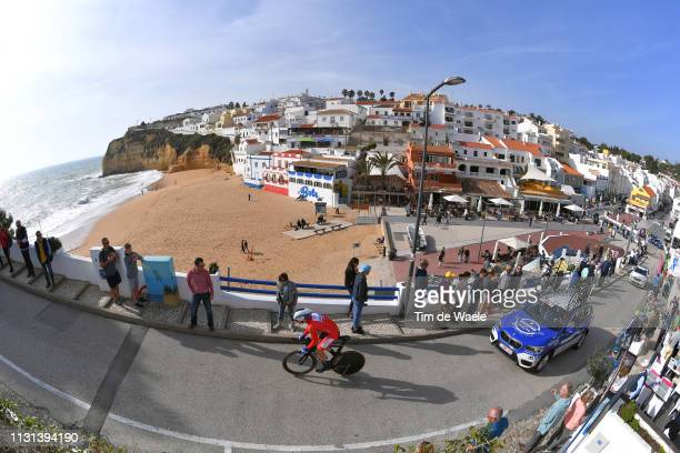 Arnaud Demare of France and Team Groupama - FDJ Red Sprint Jersey / Praia do Carvoeiro / Lagoa city / Landscape / Beach / Sea / Fans / Public /...