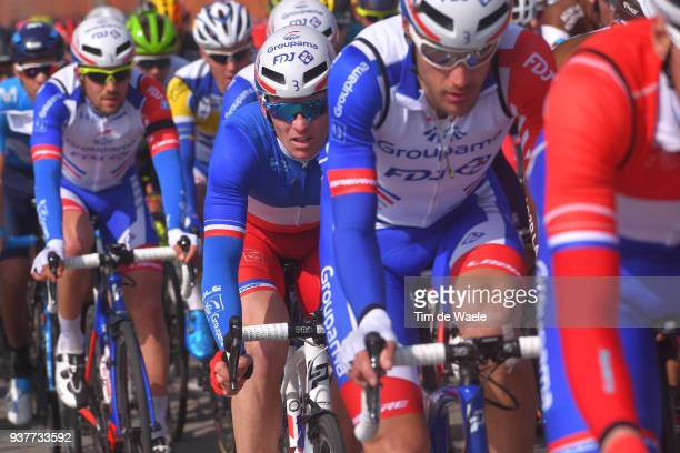 Arnaud Demare of France and Team GroupamaFDJ / during the 80th GentWevelgem In Flanders Fields 2018 a 2508km race from Deinze to Wevelgem on March 25...