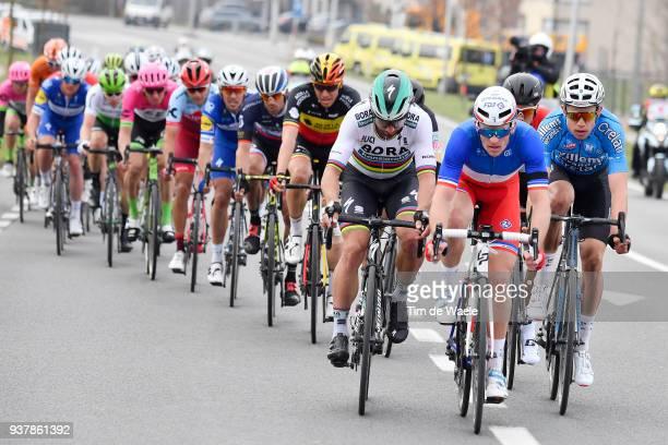 Arnaud Demare of France and Team GroupamaFDJ / Peter Sagan of Slovakia and Team Bora Hansgrohe / Wout Van Aert of Belgium And Team Veranda's Willems...