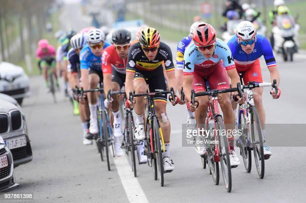 Arnaud Demare of France and Team GroupamaFDJ / Viacheslav Kuznetsov of Russia and Team Katusha Alpecin / Oliver Naesen of Belgium and Team AG2R La...