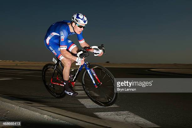 Arnaud Demare of France and the FDJFR team in action during stage three of the Tour of Qatar a 109km individual time trial at the Lusail Circuit on...