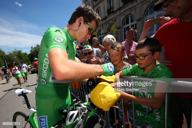 Arnaud Demare of France riding for FDJ rides to the start of the stage five of the 2017 Le Tour de France a 1605km stage from Vittel to La plance des...