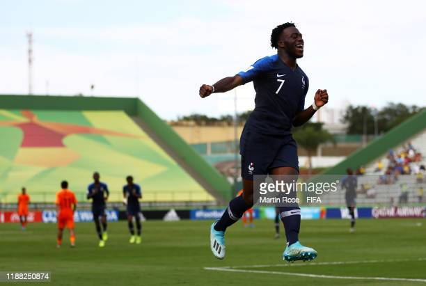 Arnaud KalimuendoMuinga of France celebrates after scoring his sides second goal during the 3rd Place Playoff match between the Netherlands and...