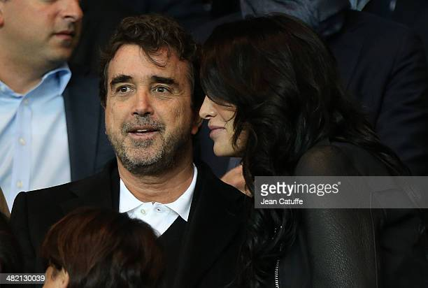Arnaud Lagardere and his wife Jade Foret Lagardere attend the UEFA Champions League quarter final match between Paris SaintGermain FC and Chelsea FC...