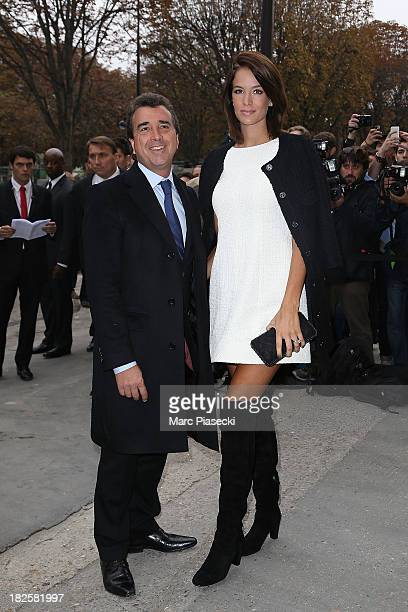 Arnaud Lagardere and Jade Foret attend the Chanel show as part of the Paris Fashion Week Womenswear Spring/Summer 2014 on October 1, 2013 in Paris,...