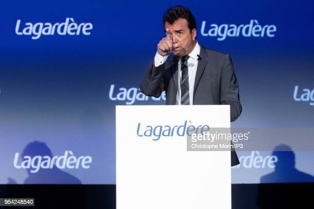 Arnaud Lagardere, the head of French media group Lagardere, attends the group's shareholders meeting on May 3, 2018 in Paris, France. The group...