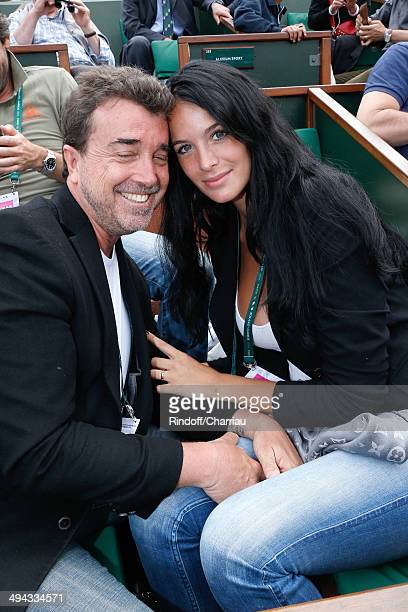 Arnaud Lagardere with his wife Jade attend the Roland Garros French Tennis Open 2014 Day 5 on May 29 2014 in Paris France