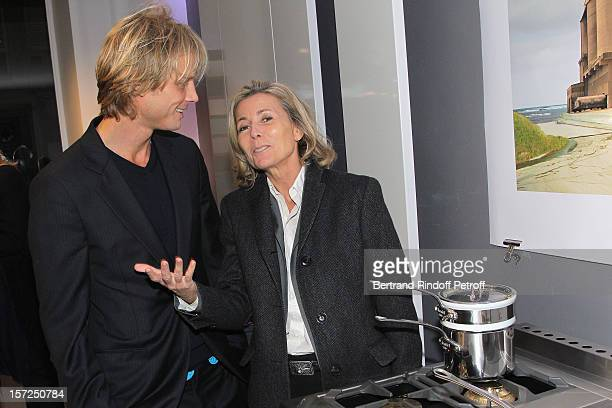 Arnaud Lemaire and anchorwoman Claire Chazal attend a traditional craftsman food tasting at La Cornue boutique on November 30, 2012 in Paris, France.