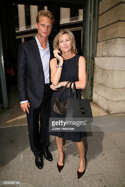 Arnaud Lemaire and Claire Chazal arrive at the Giorgio Armani Prive show as part of the Paris Haute Couture Fashion Week Fall/Winter 2011 Espace...