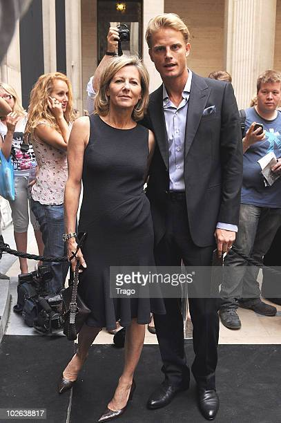 Arnaud Lemaire and Claire Chazal attend Giorgio Armani show as part of the Paris Haute Couture Fashion Week Fall/Winter 2011 at Espace Vendome on...