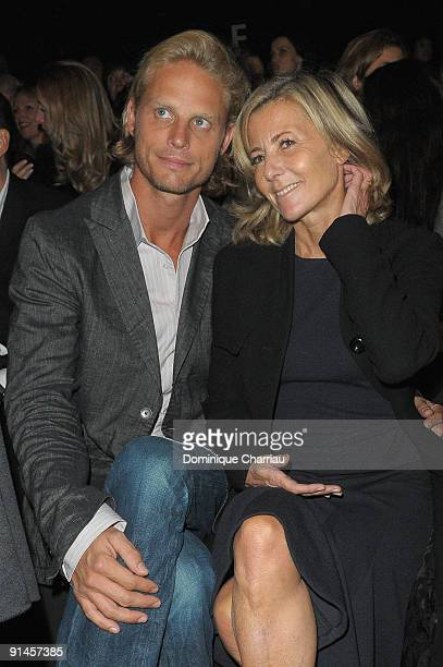 Arnaud Lemaire and Claire Chazal attend the Giambattista Valli Pret a Porter show as part of the Paris Womenswear Fashion Week Spring/Summer 2010 at...