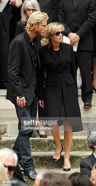 Arnaud Lemaire and Claire Chazal attends Yves Saint Laurent's Funeral Service on June 5, 2008 at Eglise Saint-Roch in Paris, France. The designer...