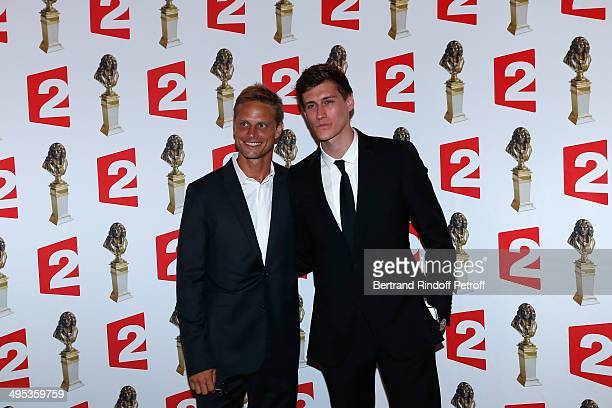 Arnaud Lemaire and JeanBaptiste Maunier attend the 26th Molieres Awards Ceremony at Folies Bergere on June 2 2014 in Paris France