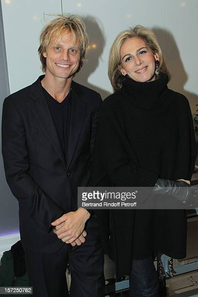 Arnaud Lemaire and journalist Anne Fulda attend a traditional craftsman food tasting at La Cornue boutique on November 30 2012 in Paris France