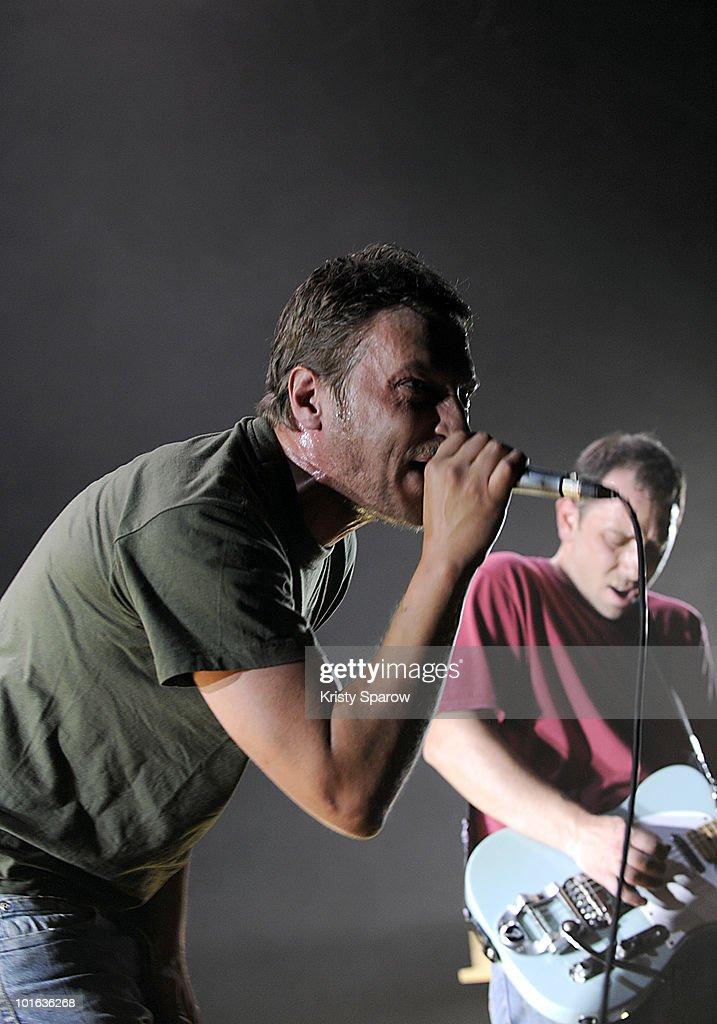 Arnaud Michniak and Damien Betous of Programme perform on stage during the Villette Sonique Festival at Grande Halle de La Villette on June 4, 2010 in Paris, France.
