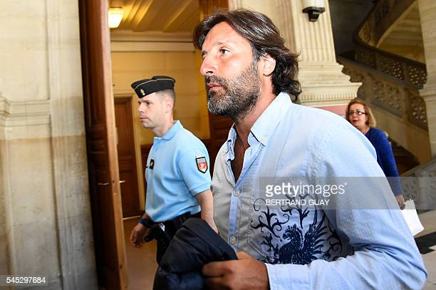 Arnaud Mimran arrives at the Paris courthouse on July 7 2016 for deliberations in his trial over an alleged carbon tax scam Mimran is one of the main...