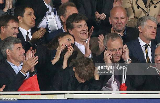 Arnaud Montebourg and his companion Aurelie Filippetti attend the international friendly match between France and Scotland at Stade Saint Symphorien...