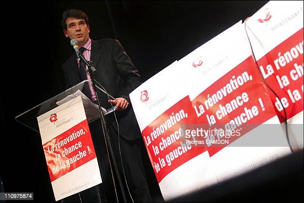 Arnaud Montebourg at National Meeting Threats to public freedoms the danger Sarkozy in Paris France on May 13th 2006
