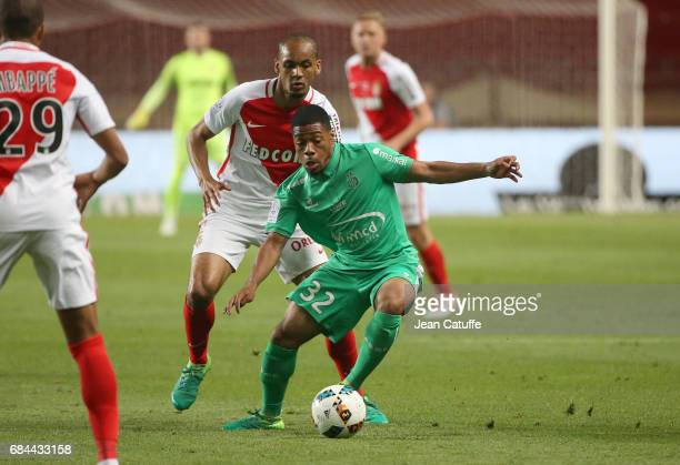 Arnaud Nordin of SaintEtienne and Fabio Henrique Tavares aka Fabinho of Monaco in action during the French Ligue 1 match between AS Monaco and AS...