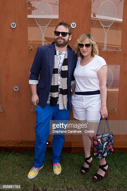 Arnaud Schneider and Marilou Berry attend Roland Garros Tennis French Open 2013