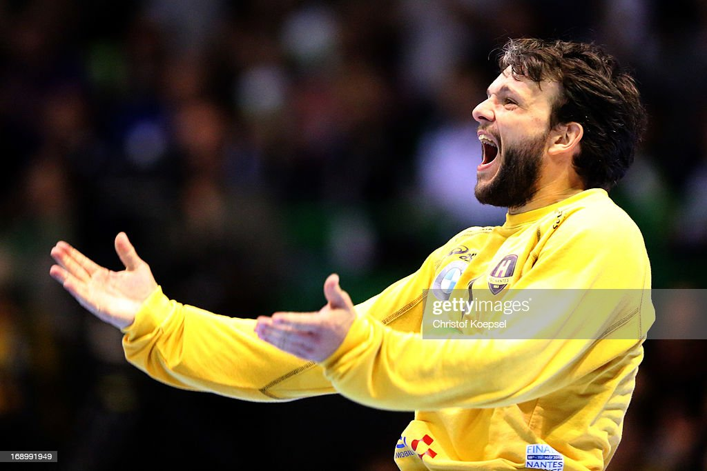 Arnaud Siffert of Nantes celebrates during the EHF Cup Semi Final match between Tvis Holstebro and HBC Nantes at Palais des Sports de Beaulieu on May 18, 2013 in Nantes, France.
