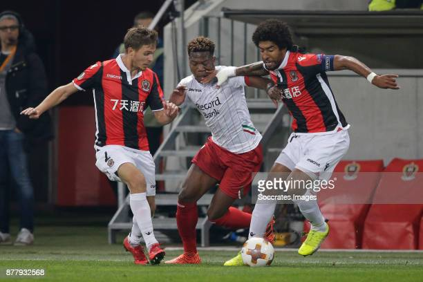 Arnaud Souquet of Nice Aaron Leya Iseka of Zulte Waregem Dante of Nice during the UEFA Europa League match between Nice v Zulte Waregem at the...