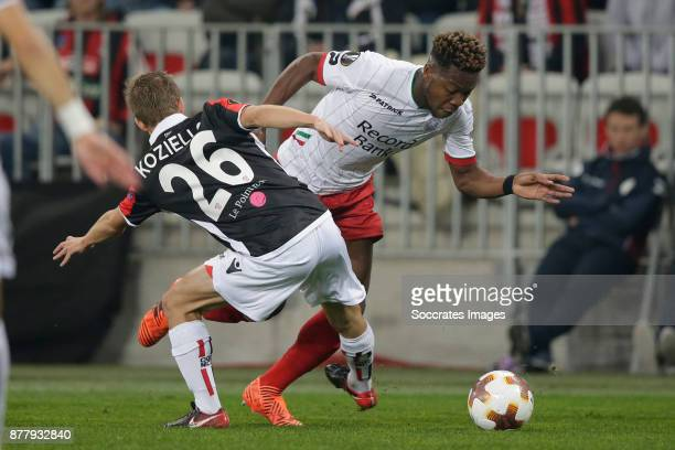 Arnaud Souquet of Nice Aaron Leya Iseka of Zulte Waregem during the UEFA Europa League match between Nice v Zulte Waregem at the Allianz Riviera on...
