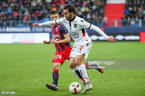 Arnaud Souquet of Nice during the Ligue 1 match between SM Caen and OGC Nice at Stade Michel D'Ornano on November 6, 2016 in Caen, France.