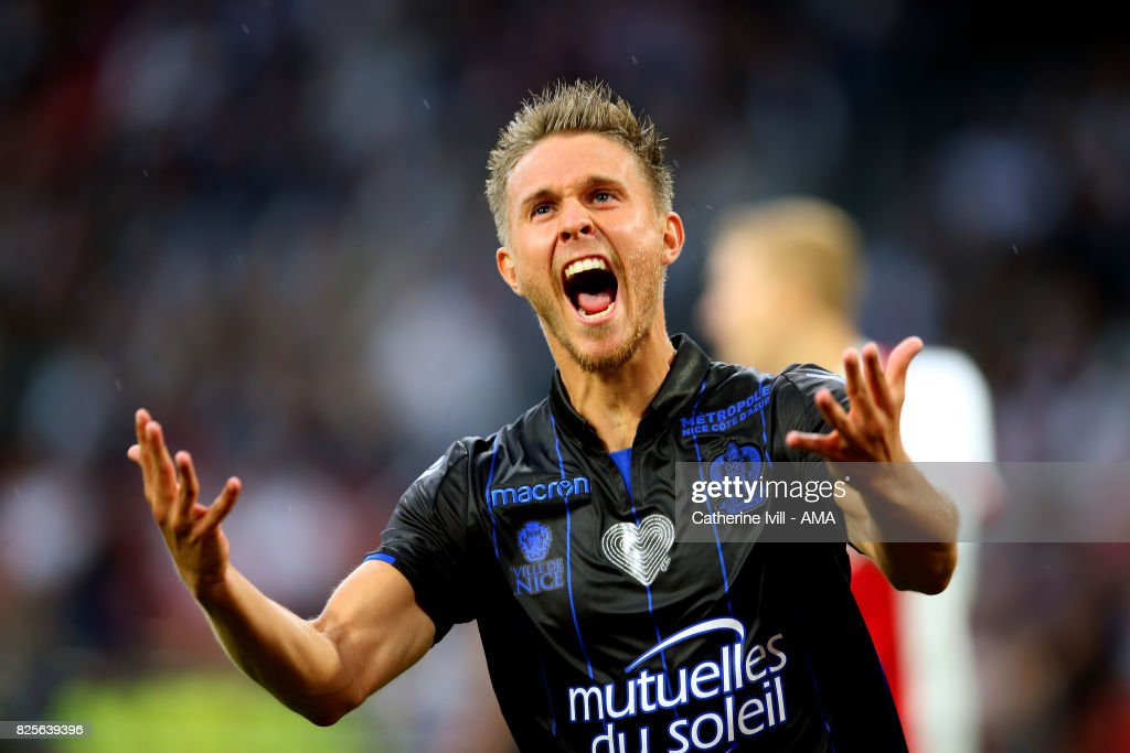 Arnaud Souquet of OGC Nice celebrates after he scores a goal to make it 0-1 during the UEFA Champions League Qualifying Third Round match between Ajax and OSC Nice at Amsterdam Arena on August 2, 2017 in Amsterdam, Netherlands.