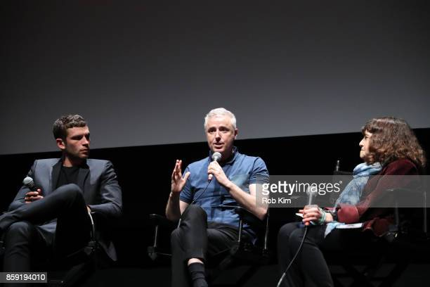 Arnaud Valois Robin Campillo and Amy Taubin of The Film Society of Lincoln Center attend the QA for the screening of 'BPM ' during the 55th New York...