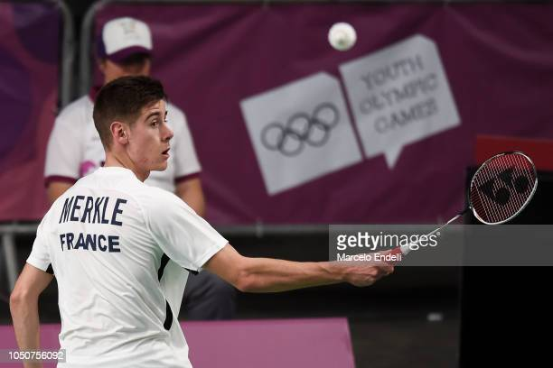 ArnaudSylvainAndre Merkle of France hits a return against Markus Barth of Norway during the men's singles match on day 1 of the Buenos Aires Youth...