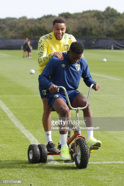 Arnaut Danjuma and Jefferson Lerma of Bournemouth before a training session at the Vitality Stadium on September 10, 2020 in Bournemouth, England.