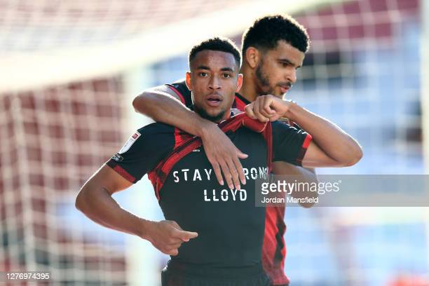 Arnaut Danjuma of AFC Bournemouth celebrates after scoring his sides first goal during the Sky Bet Championship match between AFC Bournemouth and...