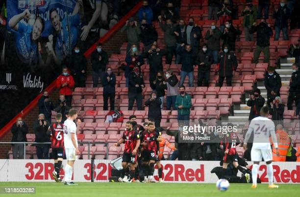 Arnaut Danjuma of AFC Bournemouth celebrates with his team mates after scoring his team's first goal during the Sky Bet Championship Play-off Semi...