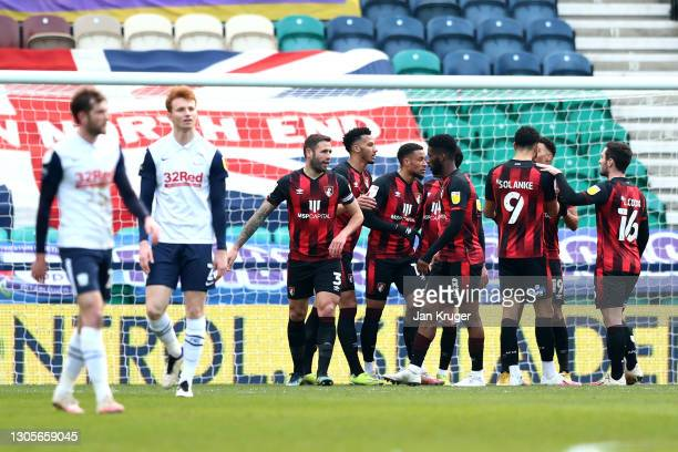 Arnaut Danjuma of AFC Bournemouth celebrates with teammates after scoring their team's first goal during the Sky Bet Championship match between...