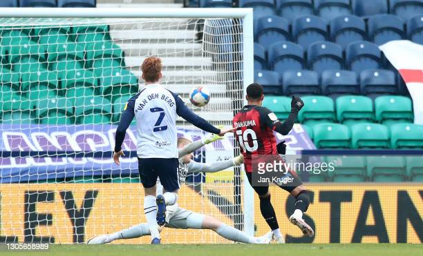 Arnaut Danjuma of AFC Bournemouth scores their team's first goal during the Sky Bet Championship match between Preston North End and AFC Bournemouth...