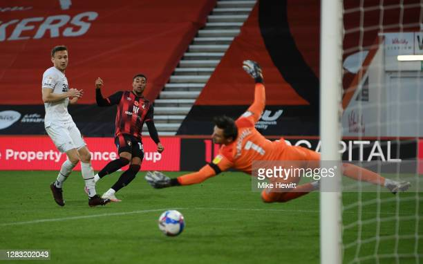 Arnaut Danjuma of AFC Bournemouth shoots but hits the post during the Sky Bet Championship match between AFC Bournemouth and Derby County at Vitality...
