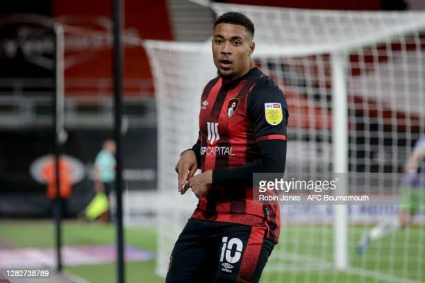 Arnaut Danjuma of Bournemouth celebrates after he scores a goal to make it 10 during the Sky Bet Championship match between AFC Bournemouth and...