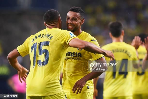 Arnaut Danjuma of Villarreal CF and Francis Coquelin of Villarreal CF celebrates after scoring his teams 1:0 goal during the LaLiga Santander match...