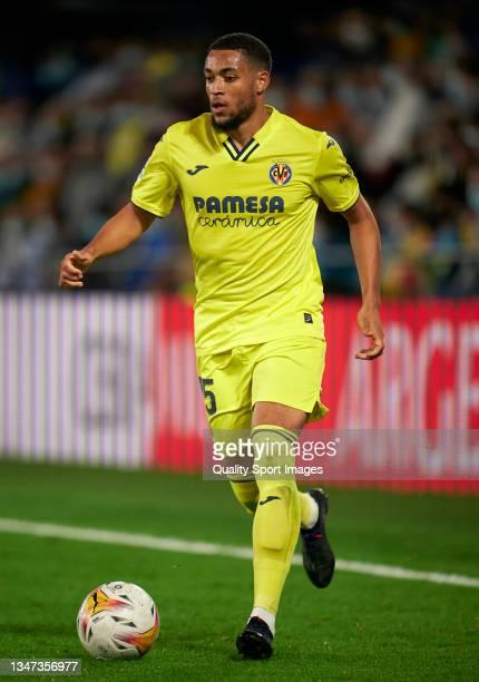 Arnaut Danjuma of Villarreal CF runs with the ball during the La Liga Santander match between Villarreal CF and CA Osasuna at Estadio de la Ceramica...