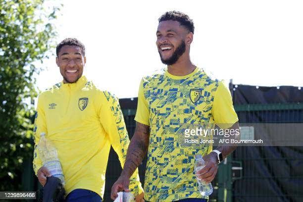 Arnaut Danjuma with Joshua King of Bournemouth wearing for the first time the clubs new Umbro branded training kit during a training session at the...