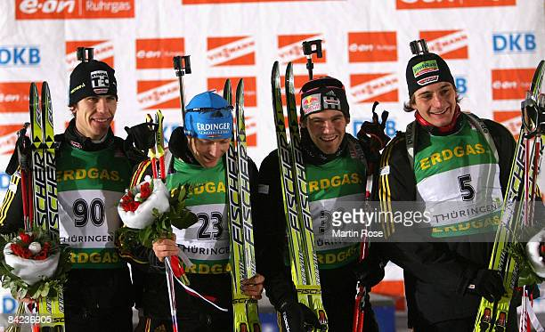 Arnd Peiffer, Andreas Birnbacher, Michael Roesch and Michael Greis of Germany poses for a picture after the Men 10 km sprint of the E.ON Ruhrgas IBU...