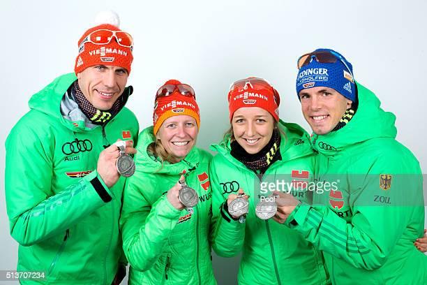 Arnd Peiffer Franziska Hildebrand Franziska Preuss and Simon Schempp of Germany after winning the silver medal during the IBU Biathlon World...