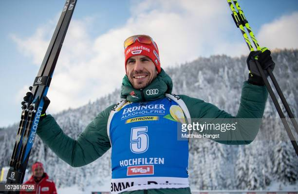 Arnd Peiffer of Germany celebrates winning the silver medal after the podium of the IBU Biathlon World Cup Men's 125 km Pursuit on December 15 2018...