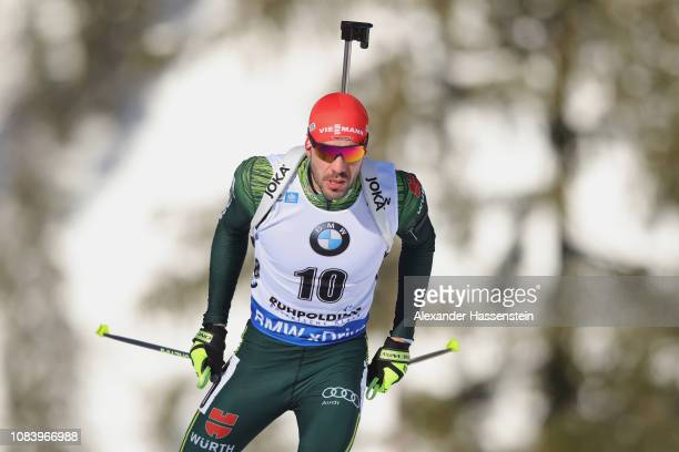 Arnd Peiffer of Germany competes at the 10 km Men's Sprint during the IBU Biathlon World Cup at Chiemgau Arena on January 17 2019 in Ruhpolding...